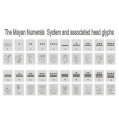 monochrome icons set with mayan numerals system vector image vector image