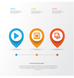 Multimedia icons set collection of begin e vector
