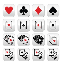 Playing cards poker gambling buttons set vector image