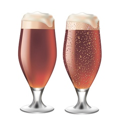 Red beer in glass with drops vector image