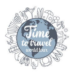 travel concept thin line flat design vector image