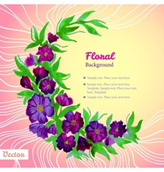 Watercolor tender wreath frame with purple flowers vector image