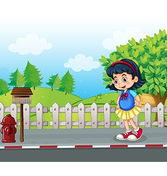 A pupil at the street near the mailbox vector image vector image
