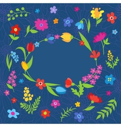 Beautiful greeting card with spring flowers blue vector image vector image