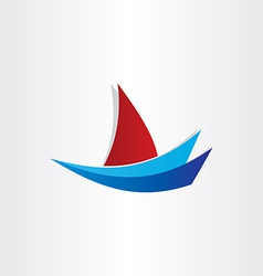 boat on water stylized icon design vector image