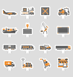 cargo transport and packaging two color sticker vector image