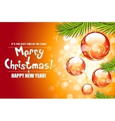 Christmas background with fir twigs and red balls vector image vector image