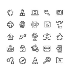 data security and safe icon black thin line set vector image