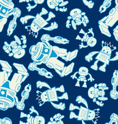 Robot force seamless pattern on a navy background vector