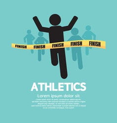 Silhouette Runner at Finish Line vector image