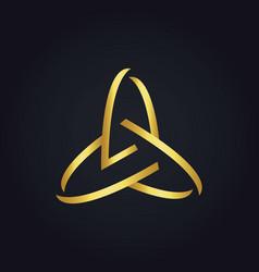 three circle abstract technology gold logo vector image