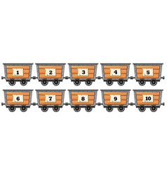 counting numbers on wooden wagons vector image vector image