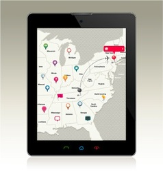 Digital Tablet with Map Pins vector image vector image
