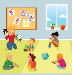 elementary school class teacher and kids vector image