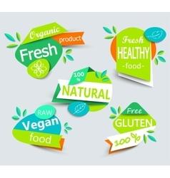 Modern set of healthy organic food labels vector image vector image