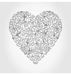Musical heart vector image vector image