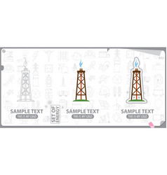 oil industry symbol oil rig silhouette vector image