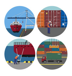 port services loading containers on ships vector image