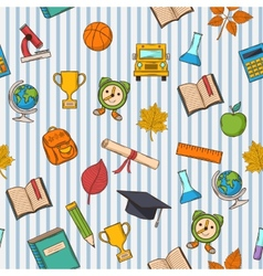 School pattern on striped blue and white vector image vector image