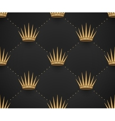 Seamless gold pattern with king crowns on a dark vector image