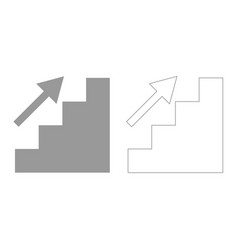 stairs growth grey set icon vector image vector image
