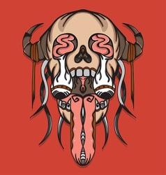 Super creepy leak skull with thorn vector image