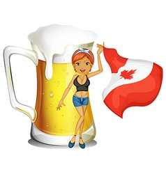 A girl holding the flag of Canada vector image