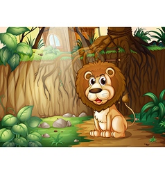 A lion sitting at the forest vector