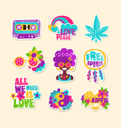 a set bright hippy-themed badges vector image
