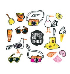 A set of cute summer and beach icons hand drawn vector image