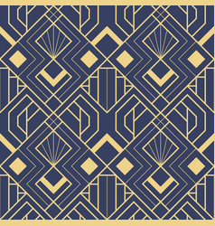 abstract art deco seamless blue pattern 53 vector image