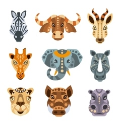 African Animals Stylized Geometric Portrait Set vector