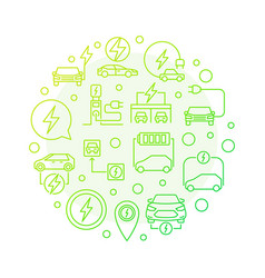all-electric car round green outline modern vector image