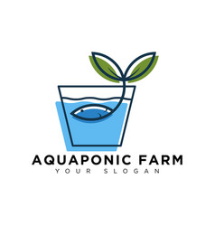 Aquaponic farm logo design modern and simple vector