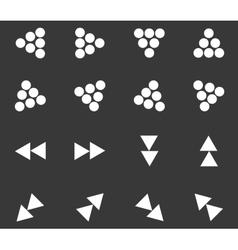 Arrow icon set 3 monochrome vector