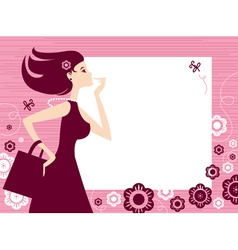 banner with shopping girl vector image