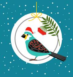 bird in santa hat winter card vector image