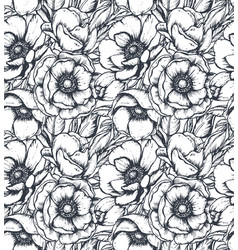 Black and white seamless pattern with hand vector