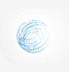blue circular technology wire mesh vector image