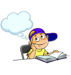 Boy thinking with a book vector