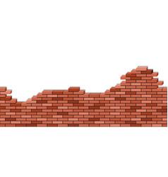 brick wall broken 3d view red texturel vector image