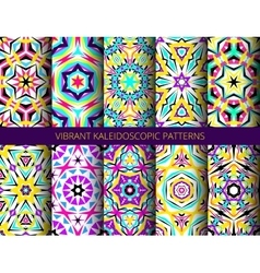 Bright kaleidoscopic patterns set vector