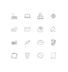 Business and office linear thin icons set vector