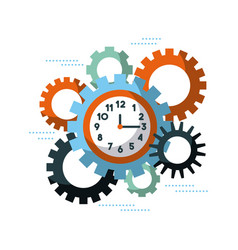 Business clock time gears team work cooperation vector