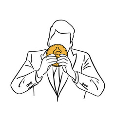 businessman holding big golden coin vector image