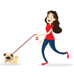 Cartoon funny woman walking with dog vector
