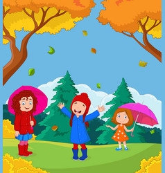 cartoon happy kid playing with autumn background vector image