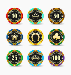casino betting chips set isolated on white vector image
