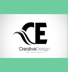 ce c e creative brush black letters design with vector image