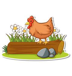 Chicken standing on a log sticker vector